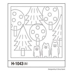 可愛い刺し子花ふきん布パック「H-1043 森のくまさん」白1枚入 オリムパス (メール便可/在庫限り)|yucasiho