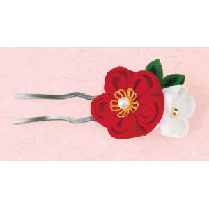 お花のかんざし(赤 LH-125) 京ちりめん つまみ細工手作りキット パナミ (メール便可/お取り寄せ)|yucasiho