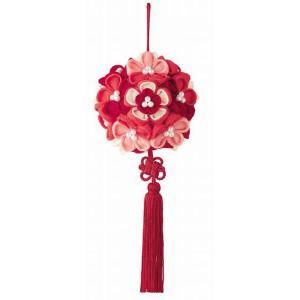 花てまり「LH-375 赤」 つまみ細工手作りキット パナミ (不可メール便/取り寄せ商品)|yucasiho
