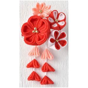 京ちりめんつまみ細工 彩花のブローチ(赤) [LH-411] パナミ手作りキット (メール便可/お取り寄せ)|yucasiho