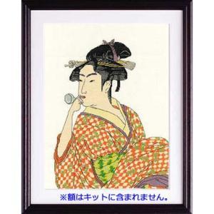 No.7185 「ポペンを吹く娘」喜多川歌麿作  オリムパスクロスステッチキット  (お取り寄せ)|yucasiho