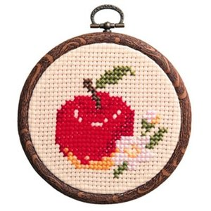 「NO.7327 リンゴ」フラワー&フルーツ/フープ付 オリムパス簡単クロスステッチキット  (メール便可/お取り寄せ)|yucasiho