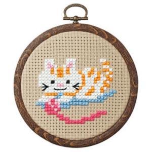 「No.7347 ネコと毛糸  」 小さななかまたち オリムパス簡単クロスステッチキット (メール便可/お取り寄せ)|yucasiho