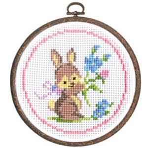 森のかわいいなかまたち「No.7402 ウサギとお花」オリムパス かんたんクロスステッチ刺しゅうキット (メール便可/お取り寄せ)|yucasiho