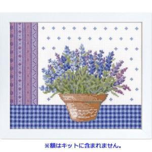 No.7480(白) ラベンダーとテラコッタの鉢 オリムパスクロスステッチキット 中〜上級向き (お取り寄せ)|yucasiho