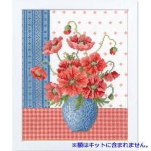 No.7482(オフホワイト) ポピーとブルーの花瓶 オリムパスクロスステッチキット 中〜上級向き (お取り寄せ)|yucasiho
