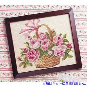 No.887 バラの花かご オリムパスクロスステッチキット 中級向き (メール便可/お取り寄せ)|yucasiho