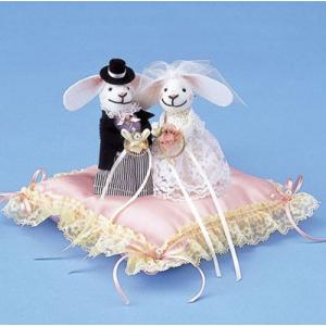 ウサギのリングピロー (RP-4 ピンク) パナミ手作りキット(メール便可/お取り寄せ)|yucasiho