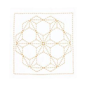 刺し子キット「刺し子269(白)花ふきん 飛び麻の葉」仕立て済み オリムパス 初級者向 (メール便可/お取り寄せ)|yucasiho