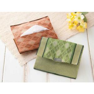 たたみテープ作る「小物入れ付ポケットティッシュケース(オレンジ&黄緑)T-37」タカギ繊維パナミ手づくりキット (メール便可/お取り寄せ)|yucasiho