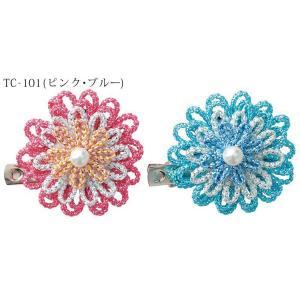 きらきらお花のブローチ (TC-101/ピンク・ブルー)パナミ手作りキット (メール便可/取り寄せ商品)|yucasiho