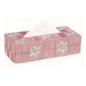 キャンバス手芸 「TC-16(ピンク)ティッシュカバーパート2花」 タカギ繊維パナミ手作りキット (不可メール便/お取り寄せ)|yucasiho