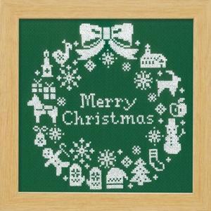 X-101 クリスマスリース(グリーン) 刺しゅうキット初〜中級(メール便可/お取り寄せ)|yucasiho