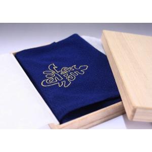 手ふくさ(ちりめん)刺繍寿60cm・紺|yuinou-com