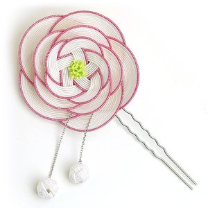 ha0016 水引かんざし(簪) 椿の水引細工の髪飾り 白 あわじ玉付き|yuinou-mizuhiki