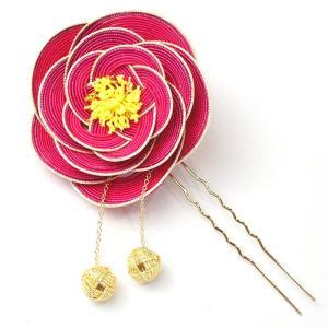 ha0025 水引かんざし(簪) 椿の水引細工の髪飾り ピンク あわじ玉付き|yuinou-mizuhiki