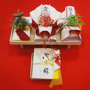 yuinou319 結納品の結納セット 三品目 結納金と指輪と酒肴料のご結納品(長熨斗と目録と毛氈付き) yuinou-mizuhiki
