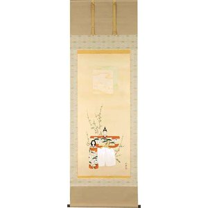 お雛様掛軸(掛け軸) 藤吉正勝作 立雛 (尺八立) b2006