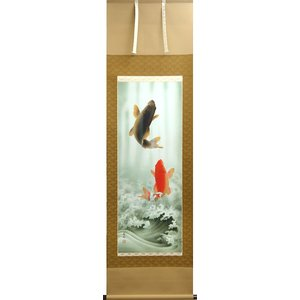 商品の在庫有ります。即日発送可能ですテレビで紹介された話題の掛軸(掛け軸) 開運・鯉の滝登り 小西春玲 作品 p4301|yuinouyasan