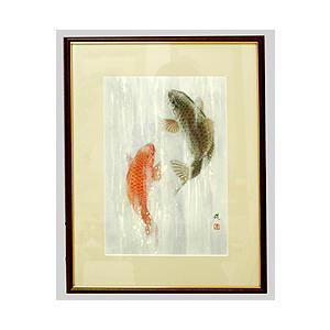テレビで紹介された話題の(和額) 開運・鯉の滝登り 広森雄 作品 p4701|yuinouyasan