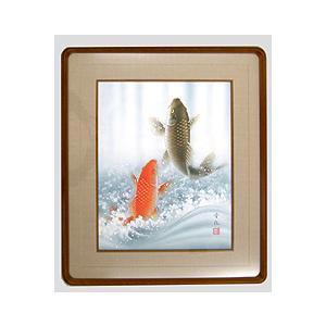 テレビで紹介された話題の(和額) 開運・鯉の滝登り 佐藤晋伍 作品 p4901|yuinouyasan
