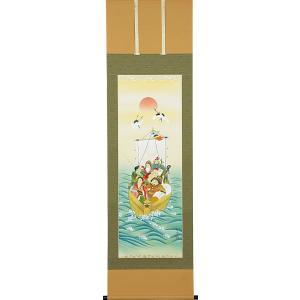 掛軸(掛け軸) 七福神  柳原秋峰作 尺五立 約横54.5cm×縦190cm(送料無料)p9603|yuinouyasan