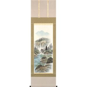 掛軸(掛け軸) 彩色山水  保母一峰作 尺五立 約横54.5×縦190cm【送料無料】p9678|yuinouyasan
