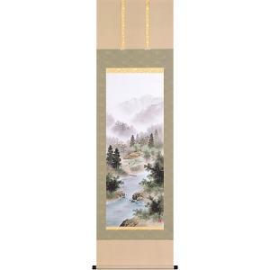 掛軸(掛け軸) 彩色山水  太田瑛弥作 尺五立 約横54.5×縦190cm【送料無料】p9679|yuinouyasan