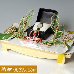 結納返し-記念品メインの結納品- 花みずき白木台セット(毛せん付) 代書無料
