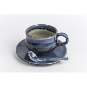 あすもりコーヒーカップセット(スプーン付)(青)|yuiyui-k