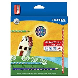 グルーヴスリム24色 シャープナー付き LYRA スリムタイプ 大人向き 色鉛筆 ラッピング無料サービス|yukainasakana