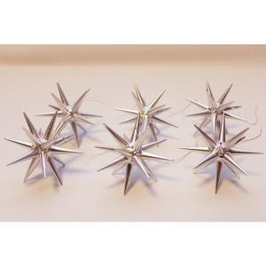 木製オーナメント 銀の星 立体(小)箱入り6個セット 199/007S ABP016L|yukainasakana
