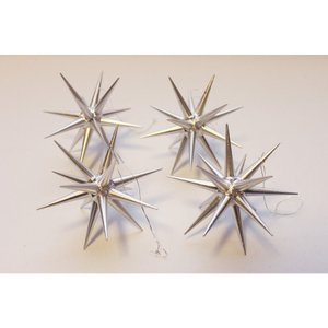 木製オーナメント 銀の星 立体(大)箱入り4個セット 199/147S ABP017L|yukainasakana