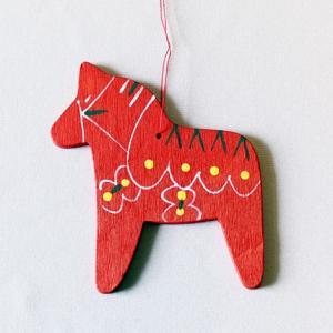 木製オーナメント ダーラナホース 赤 クリスマス|yukainasakana