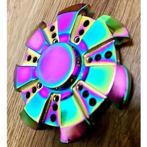 【在庫処分】ハンドスピナー Hand Spinner セラミックのボールベアリング  ストレス解消 金属仕樣 虹色-風車