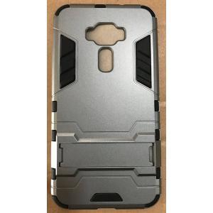 (液晶保護フィルム一枚付き)ASUS ZenFone 3 ( ZE520KL / 5.2インチ ) 専用ケース スタンド機能付き 2重構造 TPU素材 耐衝撃カバー (シルバー)