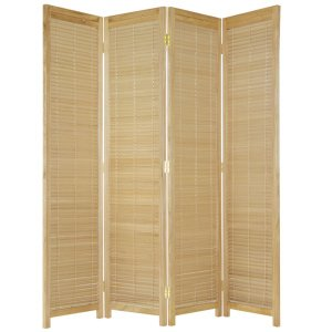 【大型商品】パーテーション木製ブラインド式スクリーン4連NA