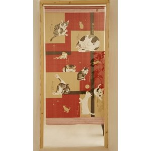 送料無料猫柄のれん幅85×170cm丈ロングサイズ ねこごころボーダーcos10234の写真