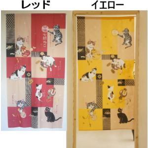 送料無料 猫柄のれん幅85×170cm丈ロングサイズ 和風「貼り絵七福ねこ」cosの写真