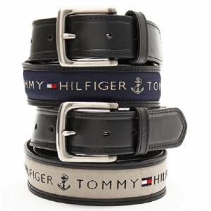 メンズベルト 人気ブランド トミーヒルフィガー TOMMY HILFIGER ブラック色 本革 ロゴ カジュアルベルト 38mm USA直輸入モデル トラッド メンズギフト 送料無料