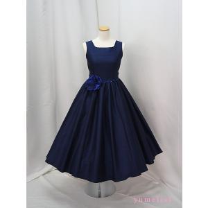 高級子供ドレス 受注生産 ゆめりすと オールシャンタンプリンセス ネイビー|yume-list