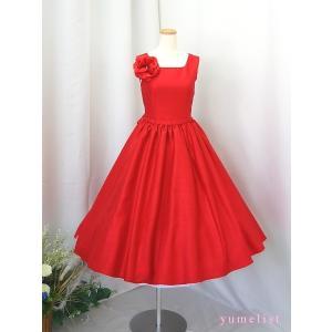 高級子供ドレス 受注生産 ゆめりすと オールシャンタンプリンセス レッド|yume-list