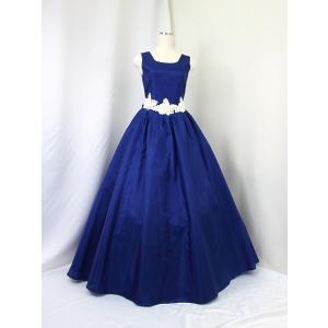 高級子供ロングドレス ゆめりすと イングリッシュローズv2 ネイビー 125:演奏会発表会用子供ロングドレス|yume-list