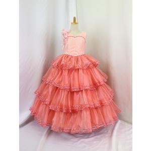 高級子供ドレス 受注生産 ゆめりすと カルメンv4  サーモンピンク 140サイズ以下|yume-list