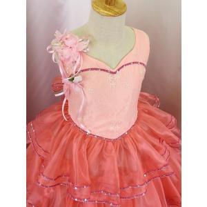 高級子供ドレス 受注生産 ゆめりすと カルメンv4  サーモンピンク 140サイズ以下|yume-list|02