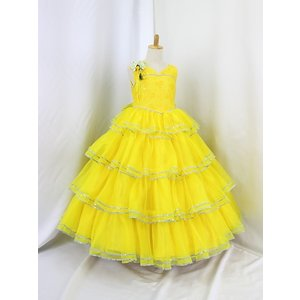 高級子供ドレス 受注生産 ゆめりすと カルメンv4  イエロー 140サイズ以下|yume-list