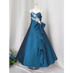 高級子供ドレス 受注生産 ゆめりすと シルバーレース フォレストネイビー|yume-list