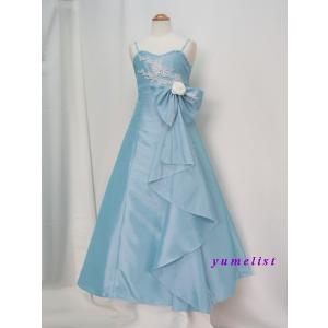 高級子供ドレス 受注生産 ゆめりすと シルバーレース グレイッシュブルー|yume-list