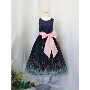 高級子供ドレス ゆめりすと ミルキーウェイ ネイビー ミドル丈 160|yume-list