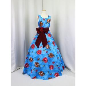 高級子供ロングドレス ゆめりすと ローズガーデンv3 ブルー 155  (1着限り) yume-list